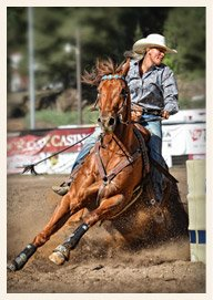 Barrel Racing at Mother Lode Round-Up Rodeo and Parade Sonora California